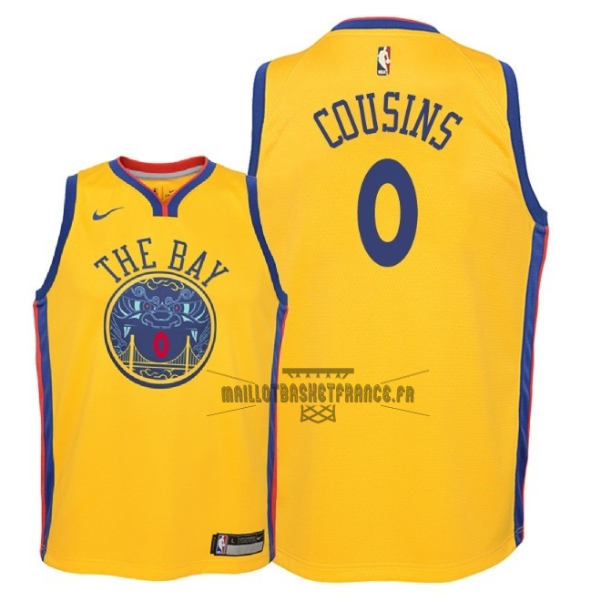 Meilleur Maillot NBA Enfant Golden State Warriors NO.0 DeMarcus Cousins Nike Jaune Ville 2018