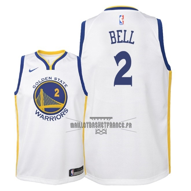 Meilleur Maillot NBA Enfant Golden State Warriors NO.2 Jordan Bell Blanc Association 2018