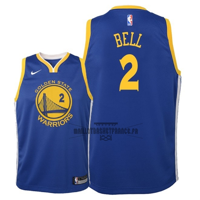 Meilleur Maillot NBA Enfant Golden State Warriors NO.2 Jordan Bell Bleu Icon 2018