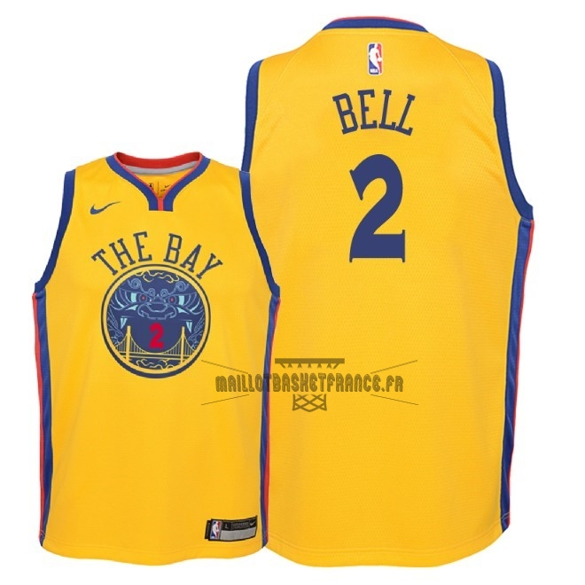 Meilleur Maillot NBA Enfant Golden State Warriors NO.2 Jordan Bell Nike Jaune Ville 2018