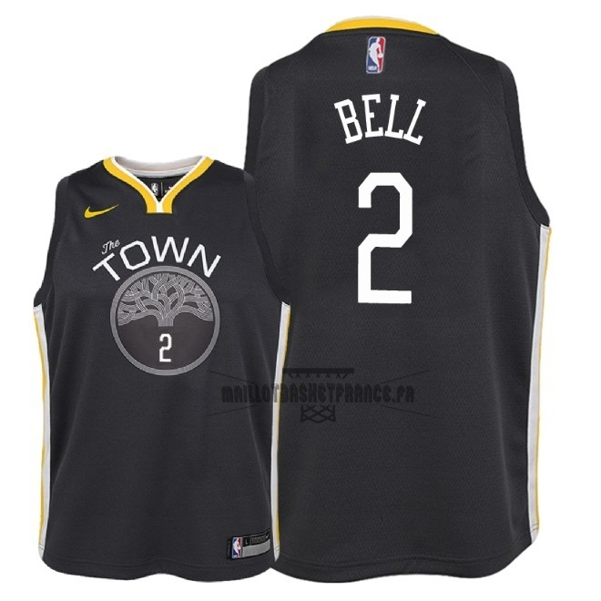 Meilleur Maillot NBA Enfant Golden State Warriors NO.2 Jordan Bell Noir Statement 2018