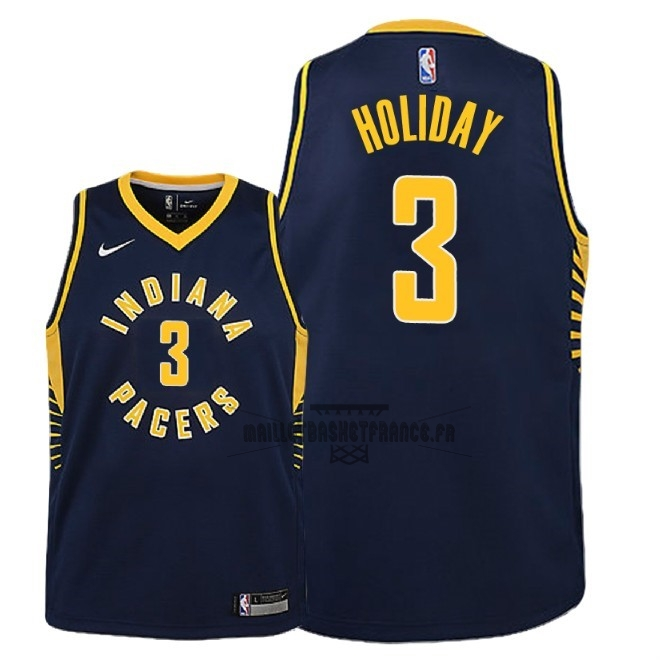 Meilleur Maillot NBA Enfant Indiana Pacers NO.3 Aaron Holiday Marine Icon 2018-19