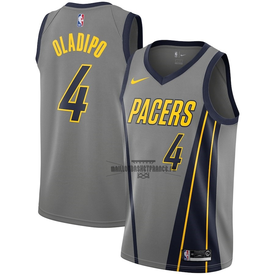 Meilleur Maillot NBA Enfant Indiana Pacers NO.4 Victor Oladipo Nike Gris Ville 2018-19