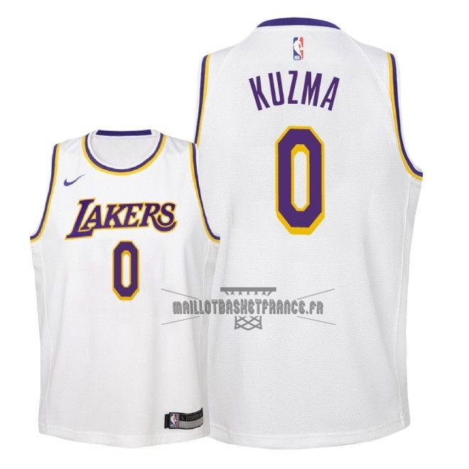 Meilleur Maillot NBA Enfant Los Angeles Lakers NO.0 Kyle Kuzma Blanc Association 2018-19