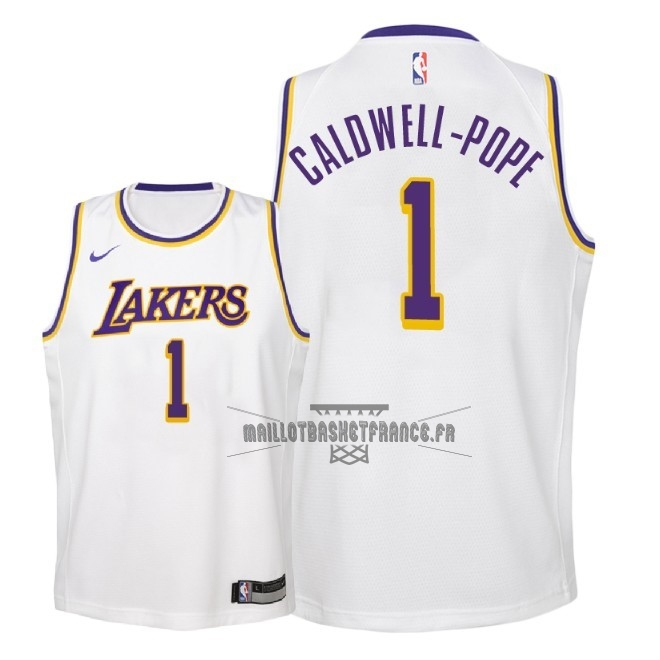 Meilleur Maillot NBA Enfant Los Angeles Lakers NO.1 Kentavious Caldwell Pope Blanc Association 2018-19