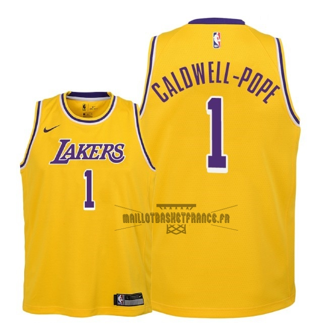 Meilleur Maillot NBA Enfant Los Angeles Lakers NO.1 Kentavious Caldwell Pope Jaune Icon 2018-19