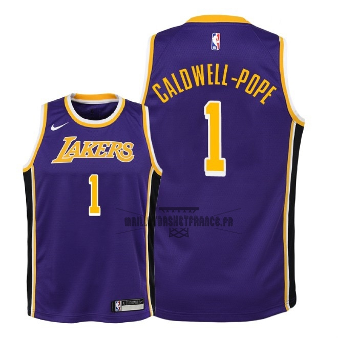 Meilleur Maillot NBA Enfant Los Angeles Lakers NO.1 Kentavious Caldwell Pope Pourpre Statement 2018-19