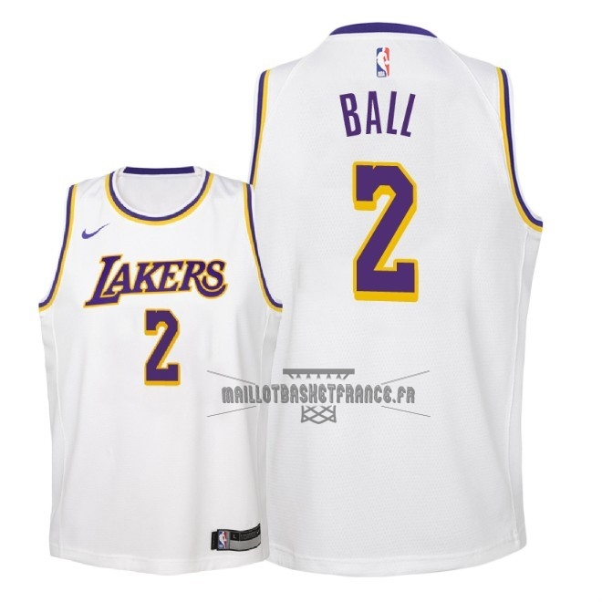 Meilleur Maillot NBA Enfant Los Angeles Lakers NO.2 Lonzo Ball Blanc Association 2018-19