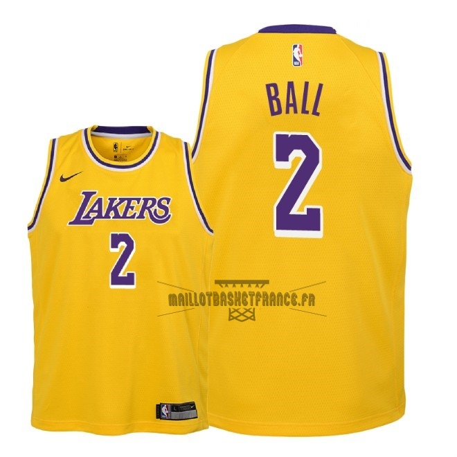 Meilleur Maillot NBA Enfant Los Angeles Lakers NO.2 Lonzo Ball Jaune Icon 2018-19