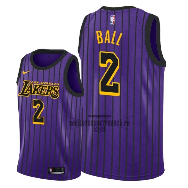 Meilleur Maillot NBA Enfant Los Angeles Lakers NO.2 Lonzo Ball Nike Pourpre Ville 2018-19