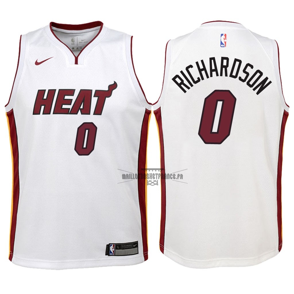 9f14a208d5ca3 Meilleur Maillot NBA Enfant Miami Heat NO.0 Josh Richardson Blanc  Association 2018