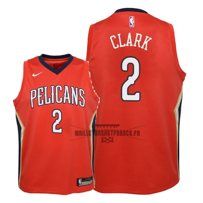 Meilleur Maillot NBA Enfant New Orleans Pelicans NO.2 Ian Clark Rouge Statement 2018