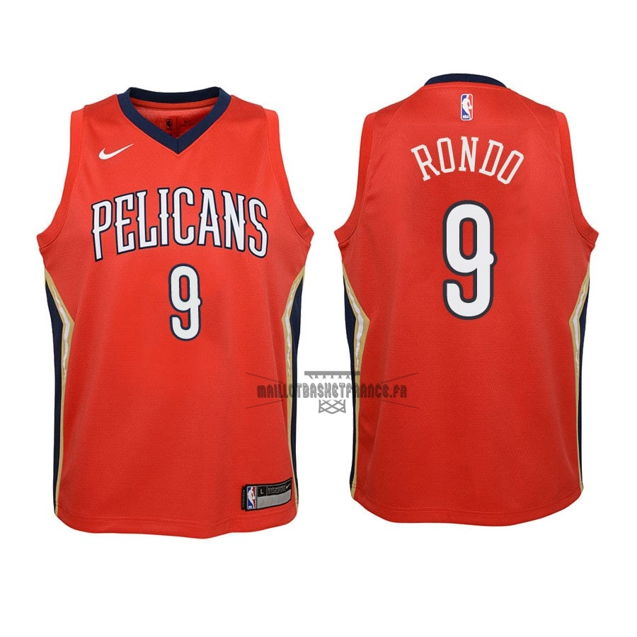 Meilleur Maillot NBA Enfant New Orleans Pelicans NO.9 Rajon Rondo Rouge Statement 2018