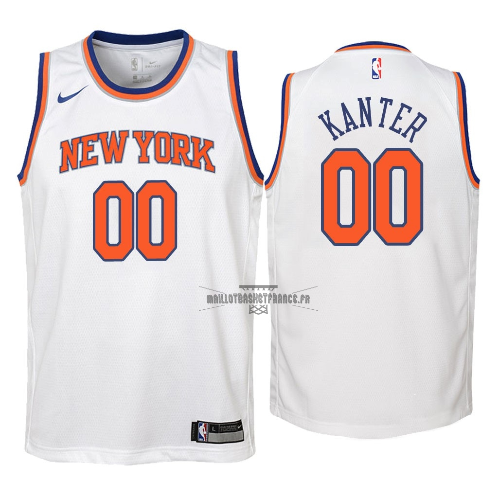 Meilleur Maillot NBA Enfant New York Knicks NO.0 Enes Kanter Blanc Association 2018