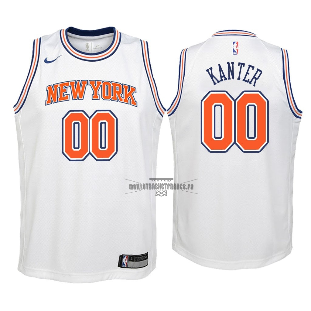 Meilleur Maillot NBA Enfant New York Knicks NO.0 Enes Kanter Blanc Statement 2018
