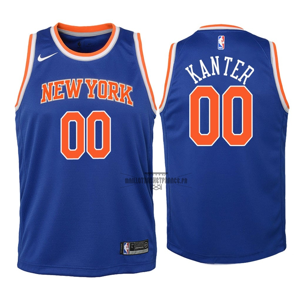 Meilleur Maillot NBA Enfant New York Knicks NO.0 Enes Kanter Bleu Icon 2018