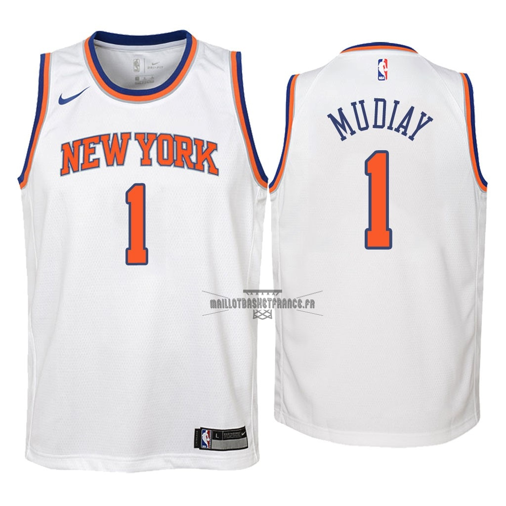Meilleur Maillot NBA Enfant New York Knicks NO.1 Emmanuel Mudiay Blanc Association 2018
