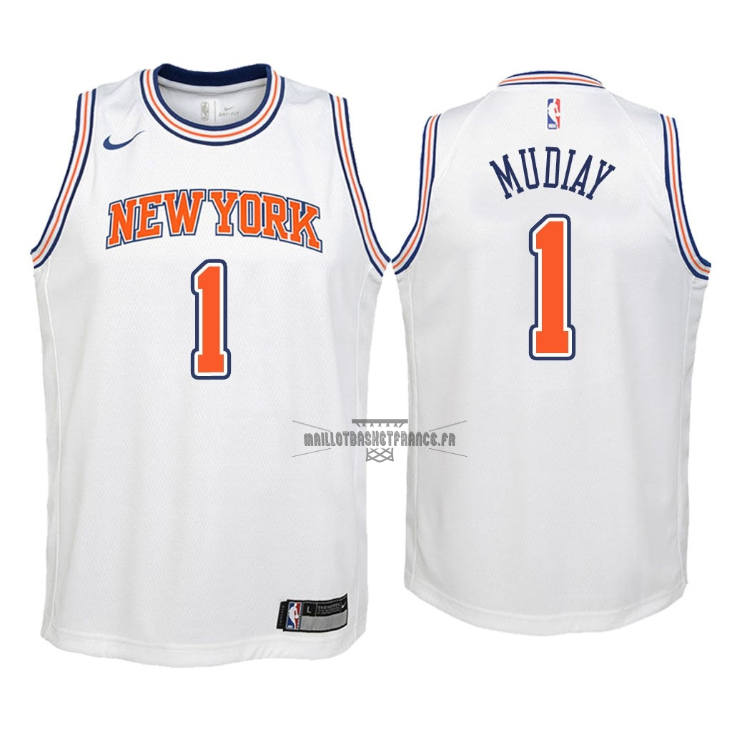 Meilleur Maillot NBA Enfant New York Knicks NO.1 Emmanuel Mudiay Blanc Statement 2018