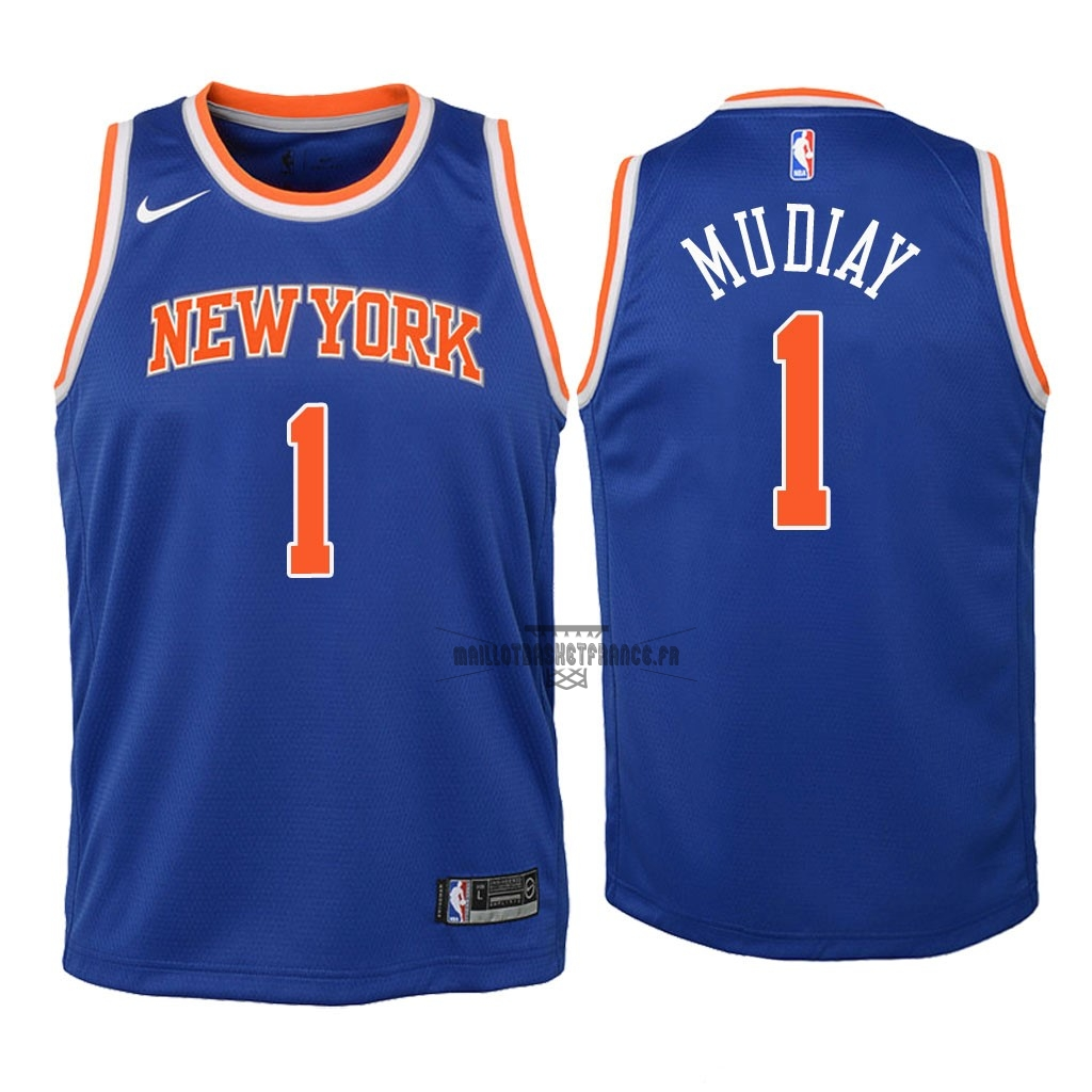 Meilleur Maillot NBA Enfant New York Knicks NO.1 Emmanuel Mudiay Bleu Icon 2018