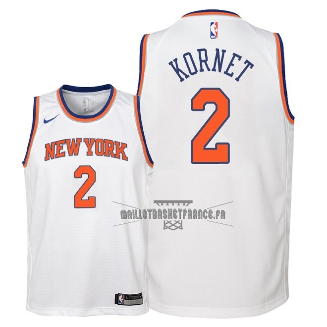Meilleur Maillot NBA Enfant New York Knicks NO.2 Luke Kornet Blanc Association 2018