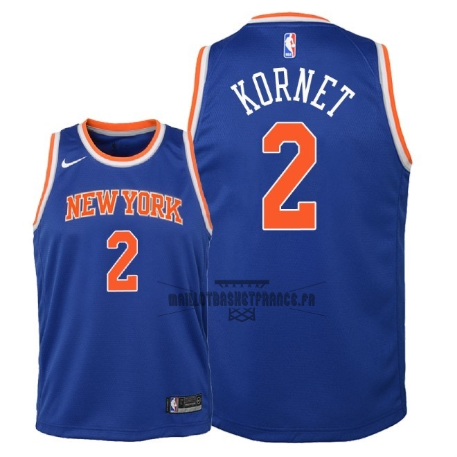 Meilleur Maillot NBA Enfant New York Knicks NO.2 Luke Kornet Bleu Icon 2018