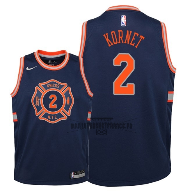 Meilleur Maillot NBA Enfant New York Knicks NO.2 Luke Kornet Nike Marine Ville 2018