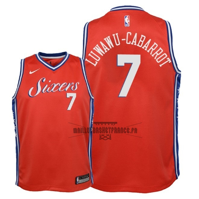Meilleur Maillot NBA Enfant Philadelphia Sixers NO.7 Timothe Luwawu Cabarrot Rouge Statement 2018