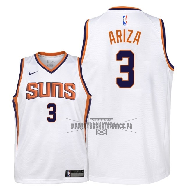 Meilleur Maillot NBA Enfant Phoenix Suns NO.3 Trevor Ariza Blanc Association 2018