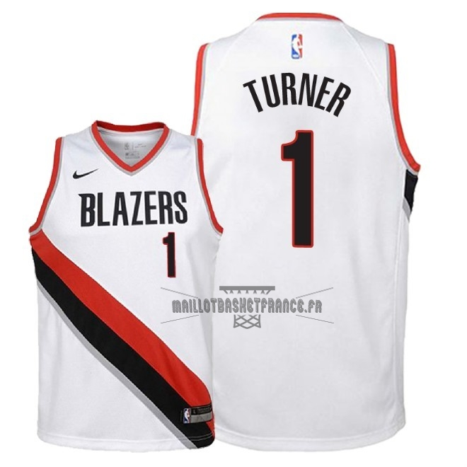 Meilleur Maillot NBA Enfant Portland Trail Blazers NO.1 Evan Turner Blanc Association 2018