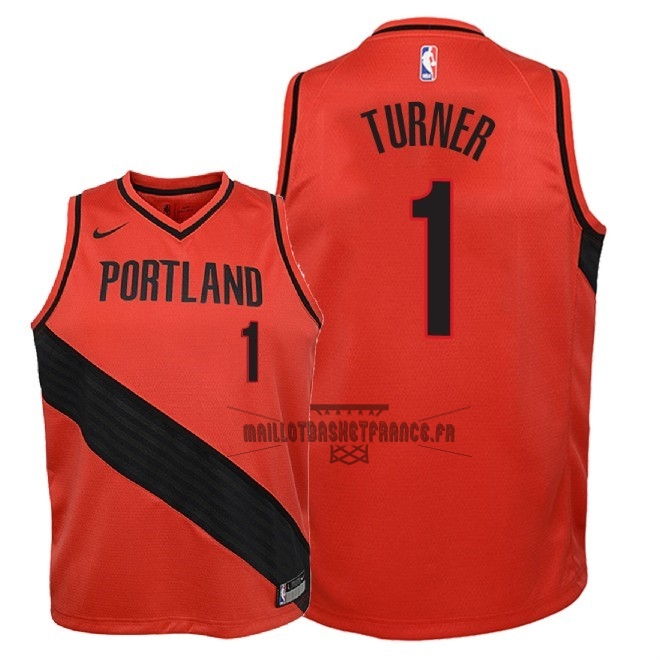 Meilleur Maillot NBA Enfant Portland Trail Blazers NO.1 Evan Turner Rouge Statement 2018