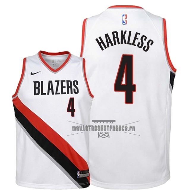 Meilleur Maillot NBA Enfant Portland Trail Blazers NO.4 Maurice Harkless Blanc Association 2018
