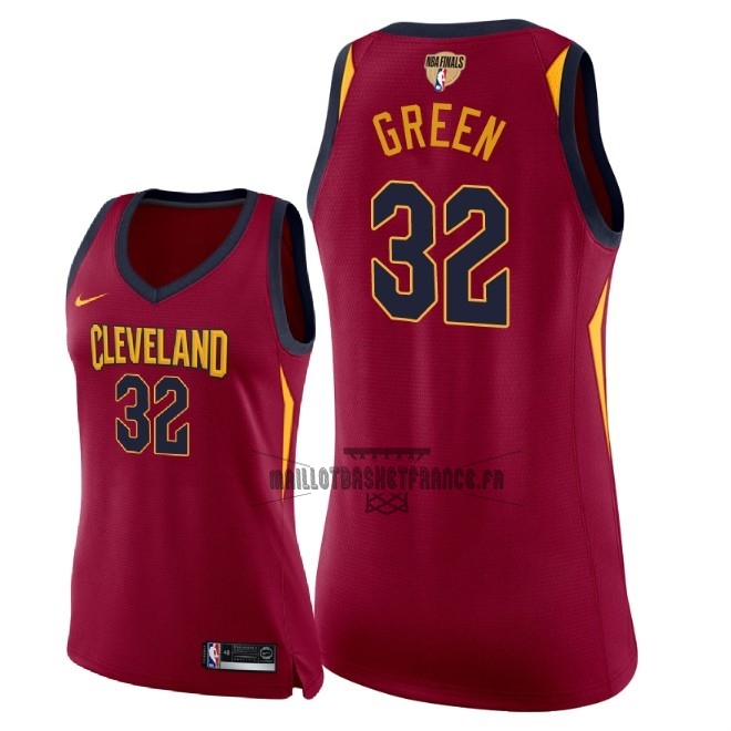 Meilleur Maillot NBA Femme Cleveland Cavaliers 2018 Final Champions NO.32 Jeff Green Rouge Icon Patch