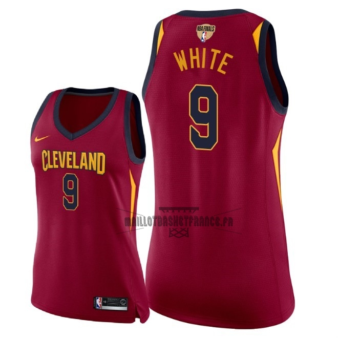 Meilleur Maillot NBA Femme Cleveland Cavaliers 2018 Final Champions NO.9 Okaro White Rouge Icon Patch