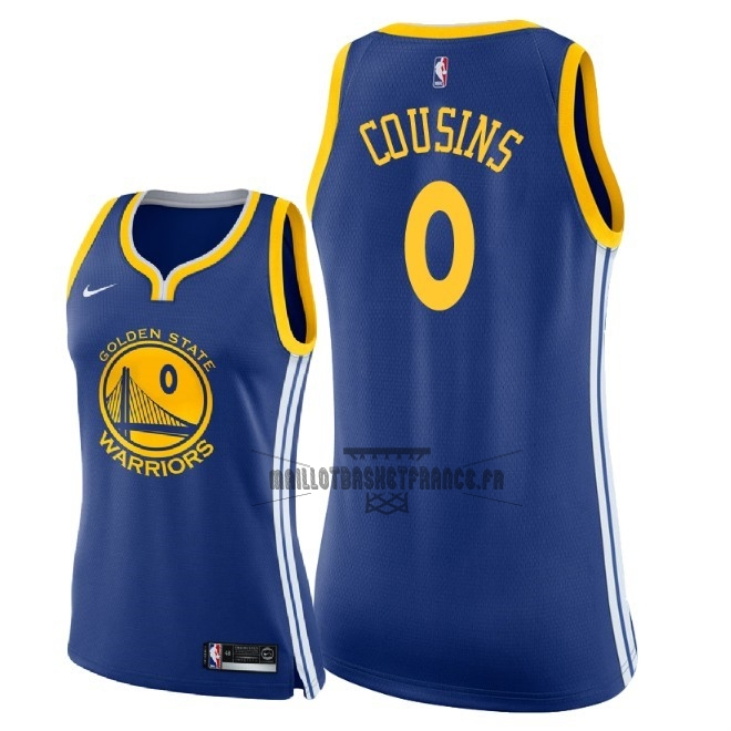 Meilleur Maillot NBA Femme Golden State Warriors NO.0 DeMarcus Cousins Bleu Icon 2018