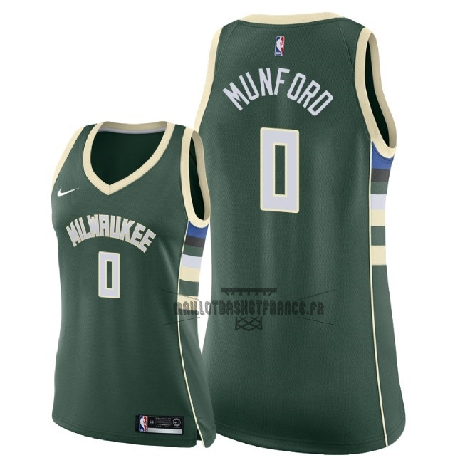 Meilleur Maillot NBA Femme Milwaukee Bucks NO.0 Xavier Munford Vert Icon 2018