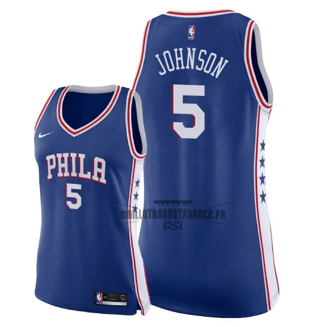 Meilleur Maillot NBA Femme Philadelphia Sixers NO.5 Amir Johnson Bleu Icon 2018
