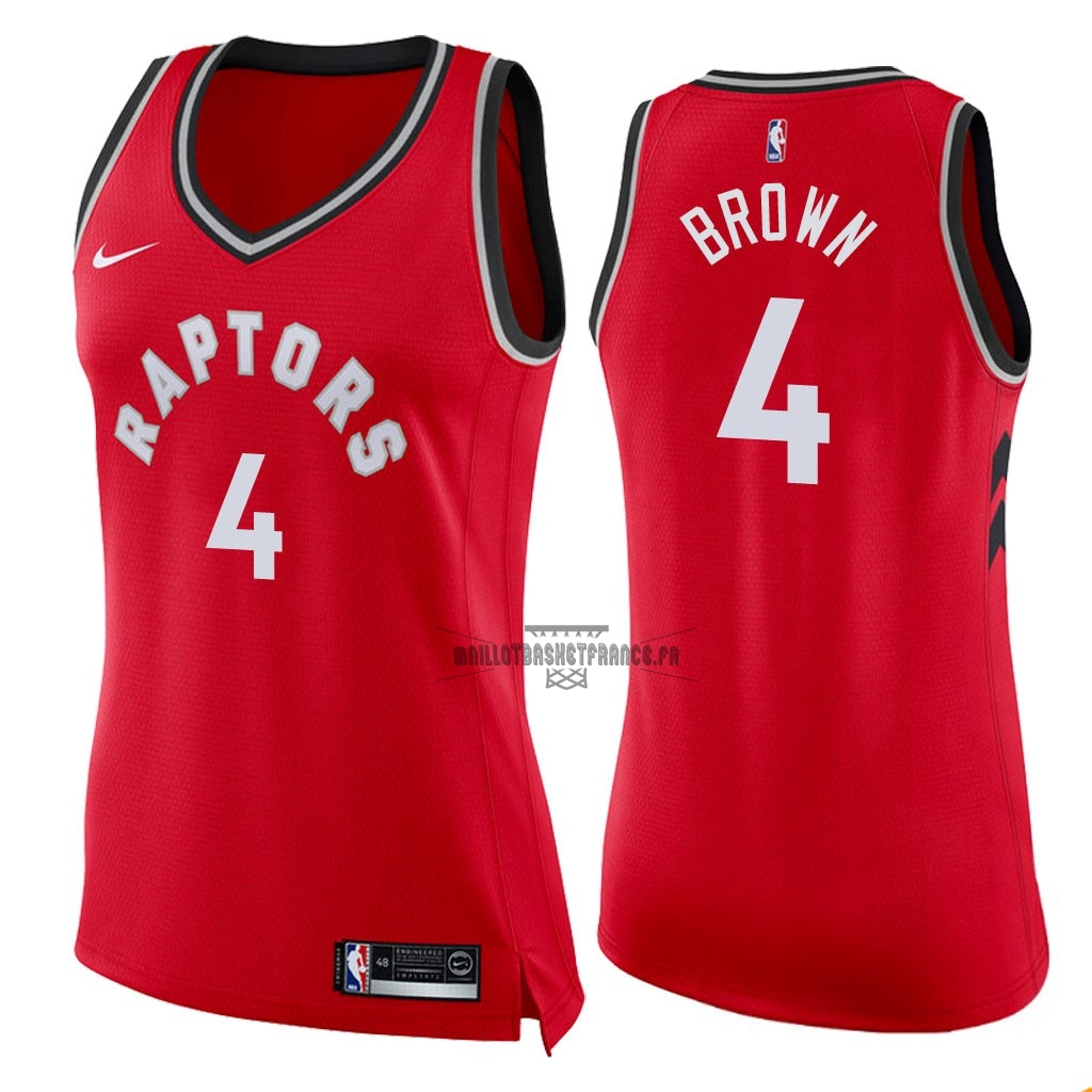 Meilleur Maillot NBA Femme Toronto Raptors NO.4 Lorenzo Brown Rouge Icon 2018