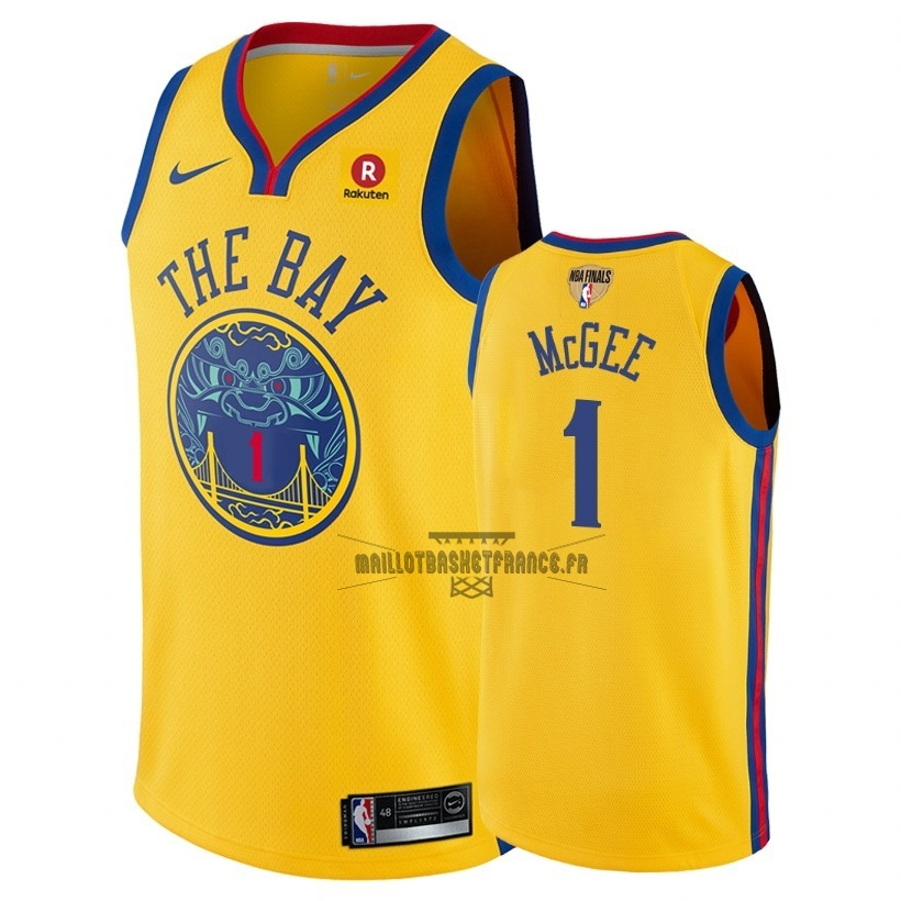 Meilleur Maillot NBA Golden State Warriors 2018 Final Champions NO.1 JaVale McGee Jaune Ville Patch
