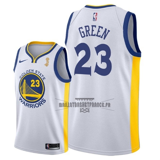Meilleur Maillot NBA Golden State Warriors 2018 Final Champions NO.23 Draymond Green Blanc