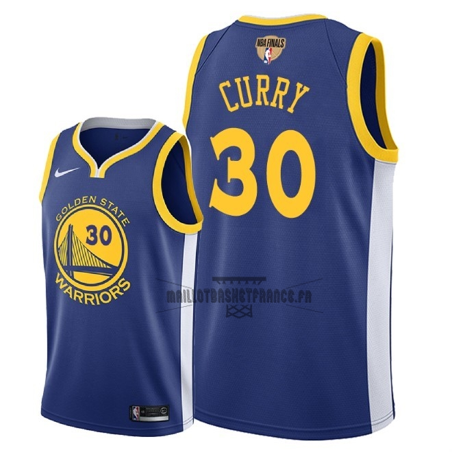 Meilleur Maillot NBA Golden State Warriors 2018 Final Champions NO.30 Stephen Curry Bleu Icon Patch