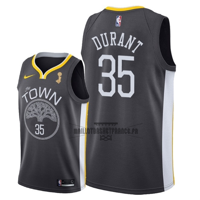 Meilleur Maillot NBA Golden State Warriors 2018 Final Champions NO.35 Kevin Durant Noir