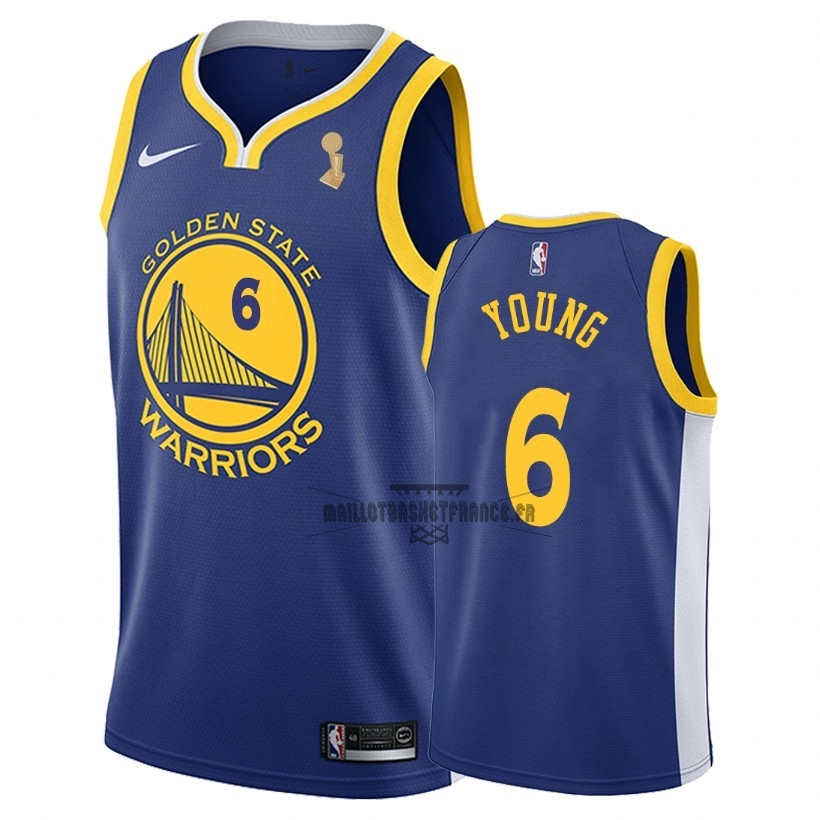 Meilleur Maillot NBA Golden State Warriors 2018 Final Champions NO.6 Nick Young Bleu