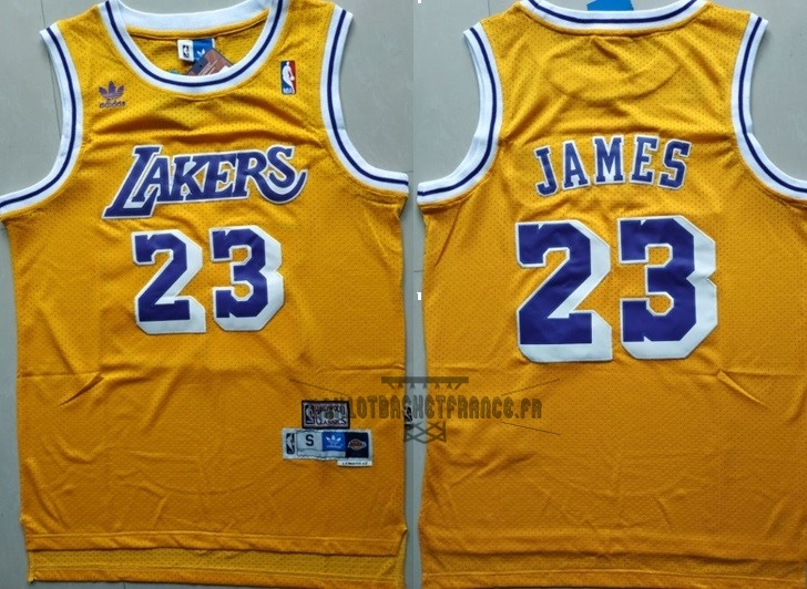 Meilleur Maillot NBA Los Angeles Lakers NO.23 Lebron James Retro Jaune