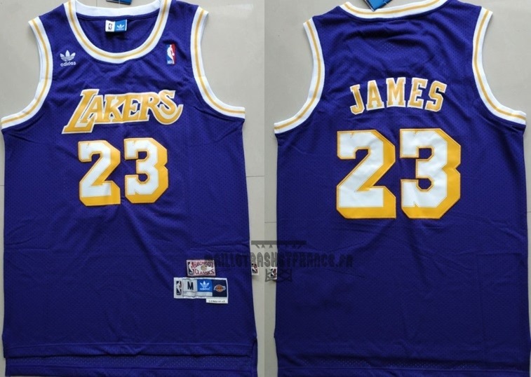 Meilleur Maillot NBA Los Angeles Lakers NO.23 Lebron James Retro Pourpre