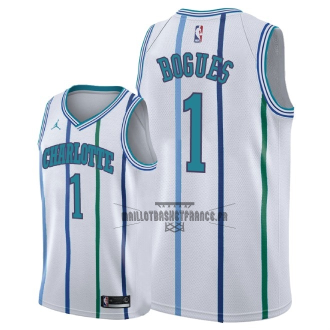 Meilleur Maillot NBA Nike Charlotte Hornets NO.1 Tyrone Bogues Retro Blanc 2018
