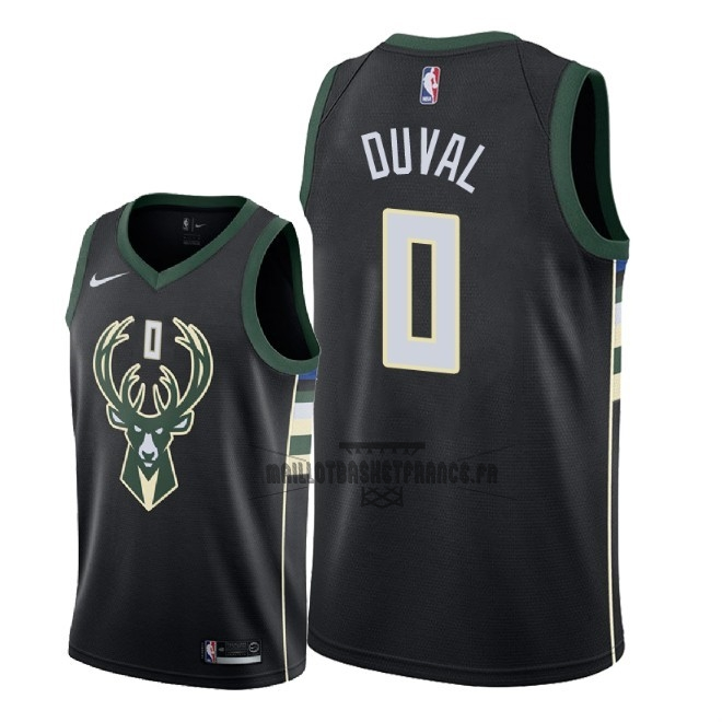 Meilleur Maillot NBA Nike Milwaukee Bucks NO.0 Trevon Duval Noir Statement 2018