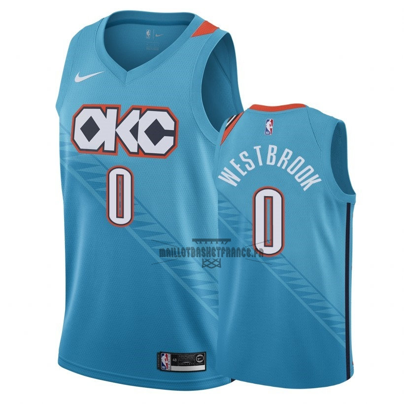 Meilleur Maillot NBA Nike Oklahoma City Thunder NO.0 Russell Westbrook Nike Turquoise Ville 2018-19