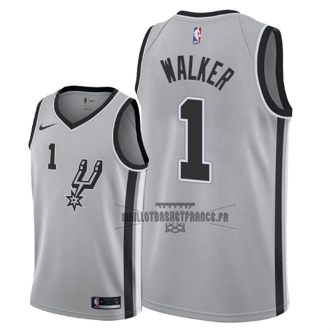 Meilleur Maillot NBA Nike San Antonio Spurs NO.1 Lonnie Walker Gris Statement 2018