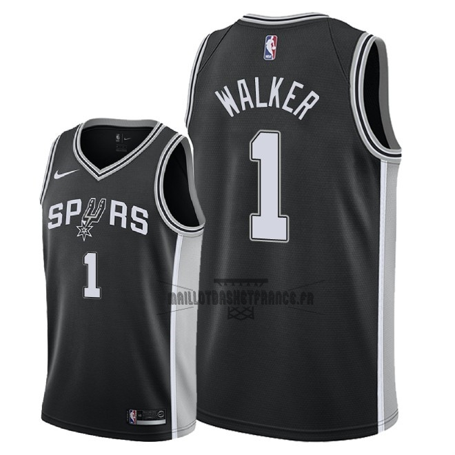 Meilleur Maillot NBA Nike San Antonio Spurs NO.1 Lonnie Walker Noir Icon 2018
