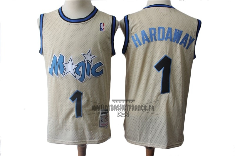 Meilleur Maillot NBA Orlando Magic NO.1 Anfernee Hardaway Retro Crème 1993-94